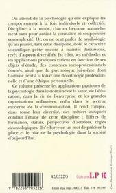 La Psychologie Et Ses Applications Pratiques - 4ème de couverture - Format classique