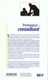 Profession : consultant - 4ème de couverture - Format classique