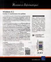 Windows 8.1 ; gestion et maintenance du système - 4ème de couverture - Format classique
