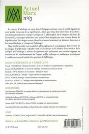 REVUE ACTUEL MARX N.43 ; critiques de l'idéologie - 4ème de couverture - Format classique