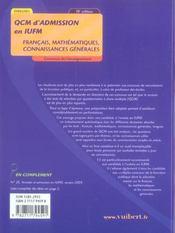 Qcm d'admission en iufm (10e édition) - 4ème de couverture - Format classique