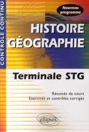 Controle Continu ; Histoire-Géographie ; Terminale Stg - Intérieur - Format classique