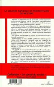 La colonie agricole et pénitentiaire de Mettray - 4ème de couverture - Format classique