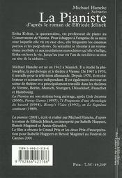 La pianiste, d'après le roman de Elfriede Jelinek - 4ème de couverture - Format classique