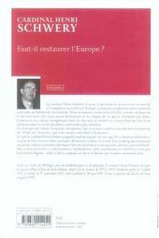 Faut-il restaurer l'Europe - 4ème de couverture - Format classique