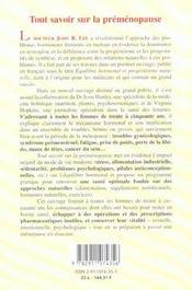 Tout savoir sur la premenopause ne - 4ème de couverture - Format classique