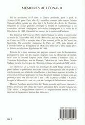 Mémoires de Léonard ; ancien garcon maçon - 4ème de couverture - Format classique