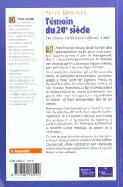 Temoin Du 20 Siecle ; De Veinne 1920 A La Californie - 4ème de couverture - Format classique