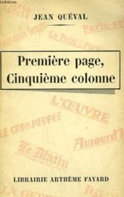 Premiere Page, Cinquieme Colonne. - Couverture - Format classique
