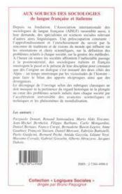 Aux sources des sociologies de langue française et italienne - 4ème de couverture - Format classique