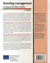 Branding management ; la marque, de l'idee a l'action (2e edition) - 4ème de couverture - Format classique