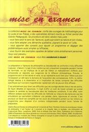 Épreuve de philosophie au baccalauréat ; cours, méthodologie, exemples corrigés - 4ème de couverture - Format classique