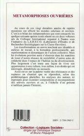 Metamorphoses Ouvrieres T.2 - 4ème de couverture - Format classique