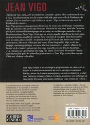 Jean Vigo, une vie engagée dans le cinéma - 4ème de couverture - Format classique
