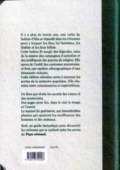 Coutumes croyances et légendes du pays cévénol (2e édition) - 4ème de couverture - Format classique