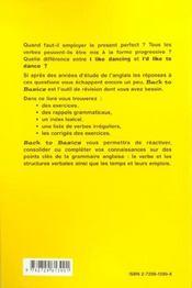 Back To Basics Exercices Corriges De Grammaire Anglaise - 4ème de couverture - Format classique
