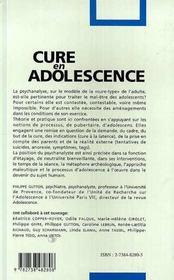 Cure En Adolescence - 4ème de couverture - Format classique