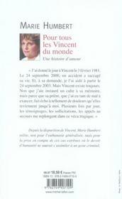 Pour tous les Vincent du monde ; une histoire d'amour - 4ème de couverture - Format classique