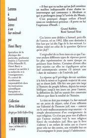 Lettres a samuel - 4ème de couverture - Format classique
