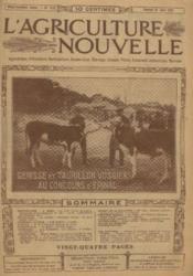 L'agriculture nouvelle, n°1157, samedi 21 juin: genisse et taurillon vosgiens au concours d'épinal - Couverture - Format classique