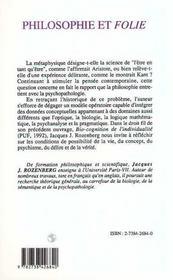 Philosophie Et Folie - 4ème de couverture - Format classique