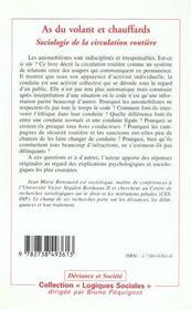 As Du Volant Et Chauffards ; Sociologie De La Circulation Routiere - 4ème de couverture - Format classique