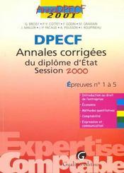 Annadpecf 2001. annales corrigees de l'examen d'etat 2000. epreuves n 1 a 5 - Intérieur - Format classique