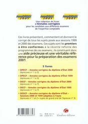 Annadpecf 2001. annales corrigees de l'examen d'etat 2000. epreuves n 1 a 5 - 4ème de couverture - Format classique