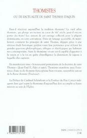Thomistes - 4ème de couverture - Format classique
