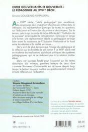 Entre Gouvernants Et Gouvernes ; Le Pedagogue Au Xviii Siecle - 4ème de couverture - Format classique