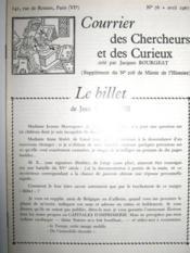 Courrier des Chercheurs et des Curieux, créé par Jacques BOURGEAT. (Supplément du n° 208 de