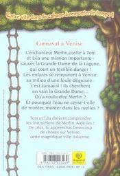 La cabane magique T.28 ; carnaval à Venise - 4ème de couverture - Format classique