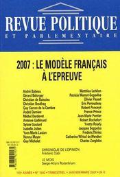 Revue Politique Et Parlementaire N.1042 ; 2007 : Le Modèle Français A L'Epreuve (édition 2005) - Intérieur - Format classique