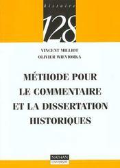 Methode Pour Le Commentaire Et La Dissertation Historiques - Intérieur - Format classique