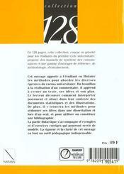 Methode Pour Le Commentaire Et La Dissertation Historiques - 4ème de couverture - Format classique