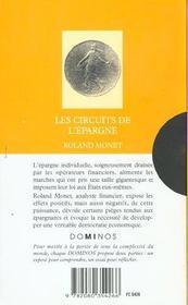 Les Circuits De L'Epargne - 4ème de couverture - Format classique