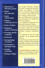 Vocabulaire De La Philosophie Et Des Sciences Humaines - 4ème de couverture - Format classique