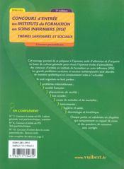 Concours d'entree en ifsi ; themes sanitaires et sociaux - 4ème de couverture - Format classique