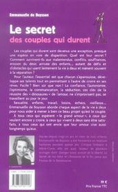 Le Secret Des Couples Qui Durent - 4ème de couverture - Format classique