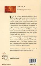 Vatican II ; herméneutique et réception - 4ème de couverture - Format classique