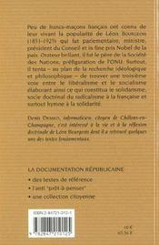 Léon Bourgeois ; philosophe de la solidarité - 4ème de couverture - Format classique