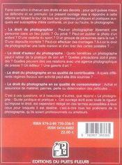 Le photographe ; guide pratique et juridique pour le professionnel et l'amateur (5e édition) - 4ème de couverture - Format classique