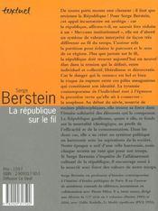 La Republique Sur Le Fil - 4ème de couverture - Format classique