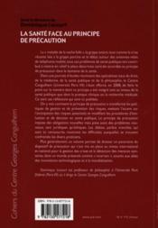 La santé face au principe de précaution - 4ème de couverture - Format classique