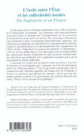 L'école entre l'Etat et les collectivités locales en Angleterre et en France - 4ème de couverture - Format classique