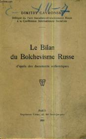 Le Bilan Du Bolcevisme Russe D'Apres Des Documents Authentiques. - Couverture - Format classique