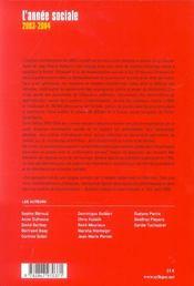 L'Annee Sociale 2003-2004 - 4ème de couverture - Format classique