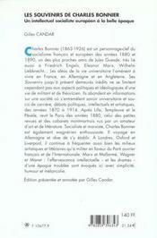 Les souvenirs de charles bonnier. un intellectuel socialiste europeen a la belle epoque - 4ème de couverture - Format classique