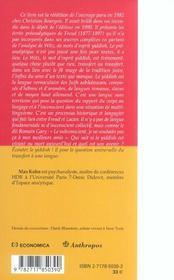 Freud et le yiddish ; le preanalytique, 1877-1897 - 4ème de couverture - Format classique