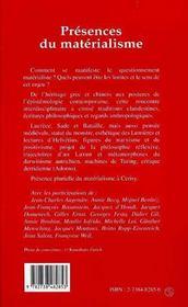 Presences Du Materialisme - 4ème de couverture - Format classique